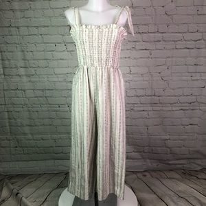 Cream/Black Striped Sienna Sky Jumpsuit Sz Large